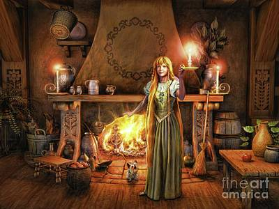 Poster featuring the painting Share My Fire And Candle Light by Dave Luebbert