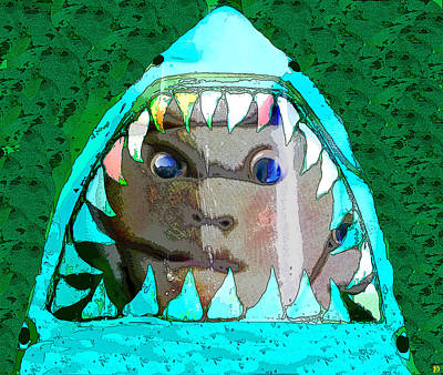 Poster featuring the digital art Shark And Face by David Lee Thompson