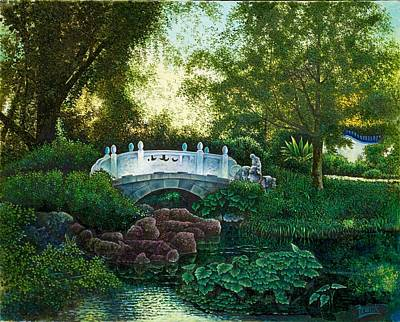 Poster featuring the painting Shaw's Chinese Garden by Michael Frank