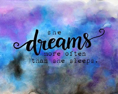 She Dreams Pillow Poster by Michelle Eshleman