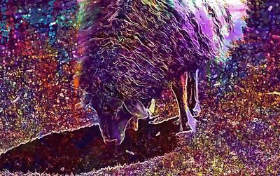 Poster featuring the digital art Sheep Animal Animals Wool Meadow  by PixBreak Art