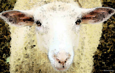 Sheep Art - Ewe Rang Poster by Sharon Cummings