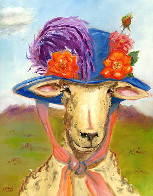 Poster featuring the painting Sheep In Fancy Hat by Susan Thomas