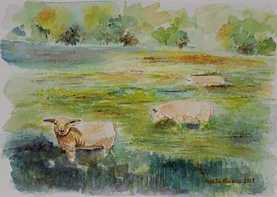 Sheep In Pasture Poster by Geeta Biswas