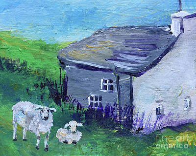 Poster featuring the painting Sheep In Scotland  by Claire Bull