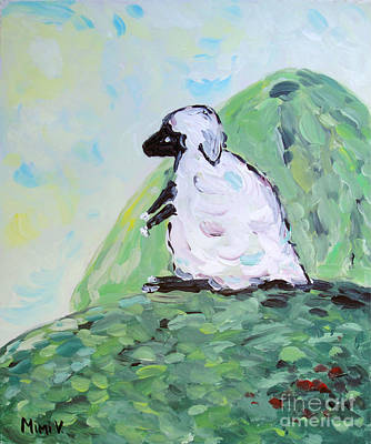 Poster featuring the painting Sheep On A Hill by Maria Langgle
