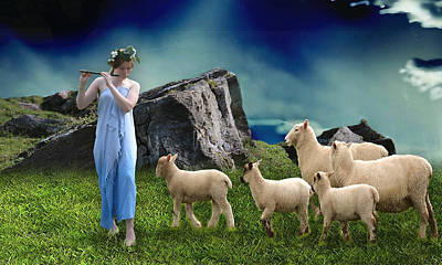 Poster featuring the mixed media Sheep Whisperer by Marvin Blaine