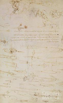 Sheet Of Studies Of Foot Soldiers And Horsemen In Combat, And Halbards Poster by Leonardo Da Vinci