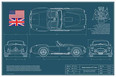 Shelby American 427 Cobra Blueplanprint Poster