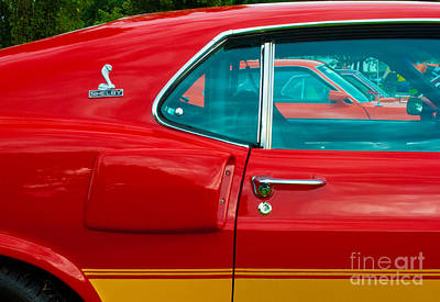 Red Shelby Mustang Side View Poster