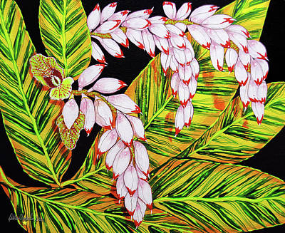 Shell Ginger Flowers Poster by Debbie Chamberlin