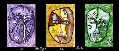 Poster featuring the painting Shelleys Mask Split Broken Alive by Shelley Bain