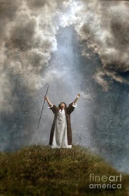 Shepherd Arms Up In Praise Poster by Jill Battaglia