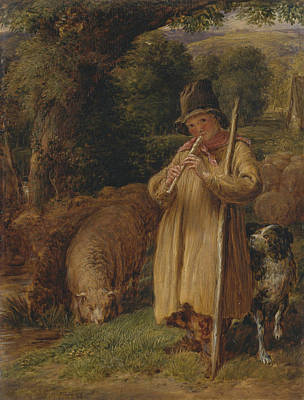Shepherd Boy Playing A Flute Poster by John Linnell
