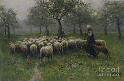 Shepherdess With A Flock Of Sheep Poster