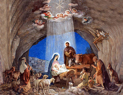 Shepherds Field Nativity Painting Poster