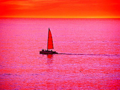 Sherbert Sunset Sail Poster by Michael Durst