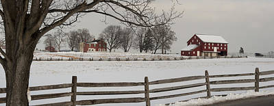 Sherfy Farm In The Snow At Gettysburg Poster by Greg Dale