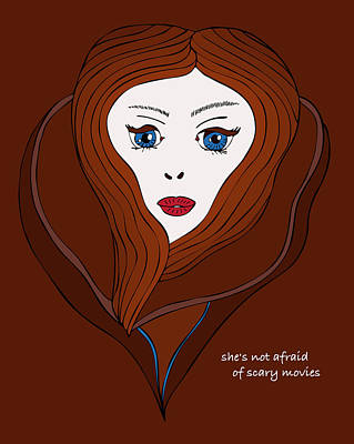 Poster featuring the drawing She's Not Afraid Of Scary Movies by Frank Tschakert