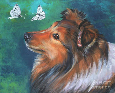 Shetland Sheepdog And Butterfly Poster by Lee Ann Shepard