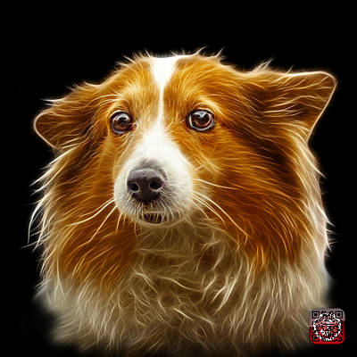 Poster featuring the mixed media Shetland Sheepdog Dog Art 9973 - Bb by James Ahn