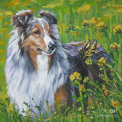 Shetland Sheepdog Wildflowers Poster by Lee Ann Shepard