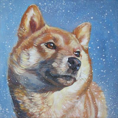 Shiba Inu In Snow Poster