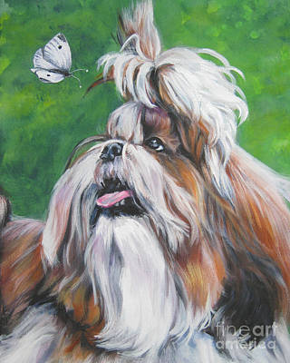 Shih Tzu And Butterfly Poster by Lee Ann Shepard