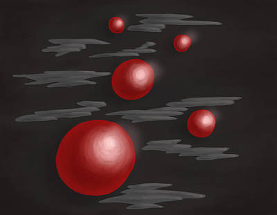 Shiny Red Planets Poster