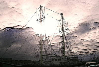 Poster featuring the photograph Ship And Sun by Yury Bashkin