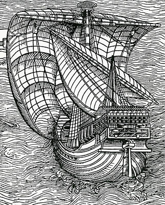 Ship From The Time Of Christopher Columbus Poster by English School