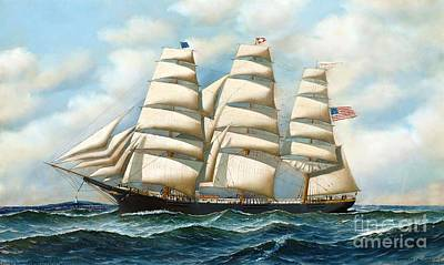 Ship Young America At Sea Poster by Pg Reproductions