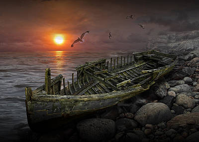 Shipwreck At Sunset Poster by Randall Nyhof