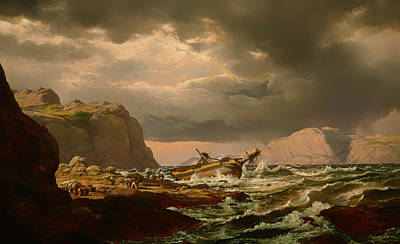 Shipwreck On Norwegian Coast Poster by Mountain Dreams