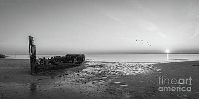 Shipwreck Sunset Panorama Bw Poster by Michael Ver Sprill
