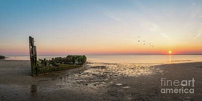 Shipwreck Sunset Panorama  Poster by Michael Ver Sprill