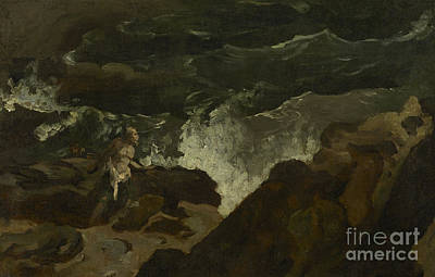 Shipwrecked On A Beach Poster by Theodore Gericault
