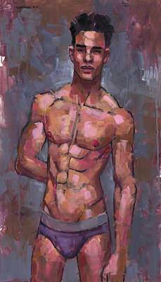 Shirtless On Grey Background Poster by Douglas Simonson