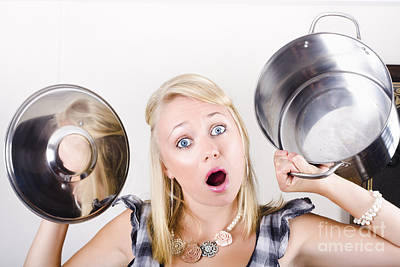 Shocked Caucasian Woman Holding Empty Cooking Pot Poster