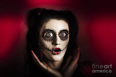 Shocked Day Of The Dead Voodoo Doll On Red Poster by Jorgo Photography - Wall Art Gallery