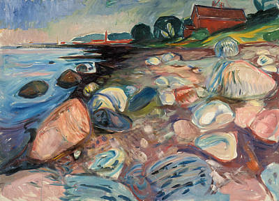 Shore With Red House Poster by Edvard Munch