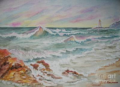 Poster featuring the painting Shoreline Breakers by Carol Grimes