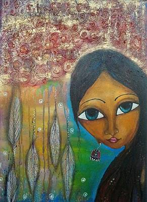 Poster featuring the mixed media Shower Of Roses by Prerna Poojara