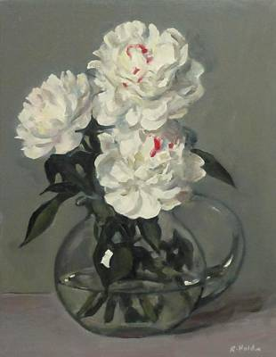 Showy White Peonies In Glass Pitcher Poster