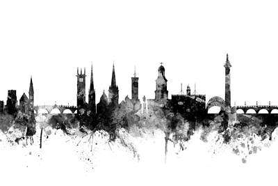 Shrewsbury England Skyline Poster by Michael Tompsett