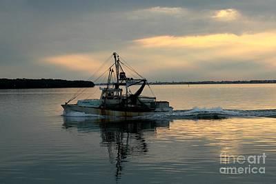 Shrimp Boat At Sunset Poster