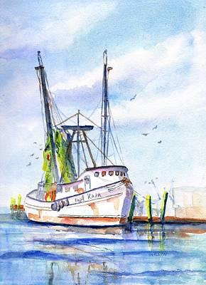 Shrimp Boat Gulf Fishing Poster