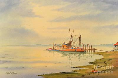 Shrimp Boat Sunset Poster by Bill Holkham