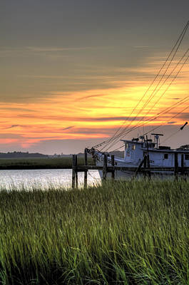 Shrimp Boat Sunset Poster