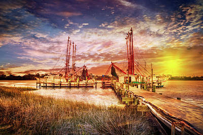 Shrimp Boats At The Dock Poster by Debra and Dave Vanderlaan